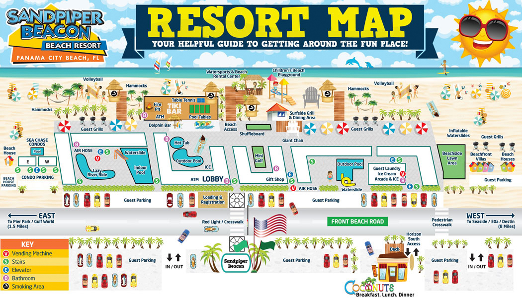 Resort Map of the Sandpiper Beacon Panama City Beach Florida